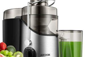 Aicook - Licuadora para Verduras y Frutas, 3 velocidades, Extractor de Zumos Boca Ancha de 65mm, Extractor de Jugos Libre de BPA, con Base Antideslizante, 18000 RPM, tienda de electrodomesticos