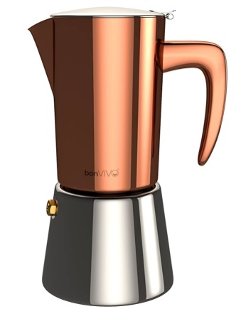 BonVIVO - Intenca Cafetera Italiana Express De Inducción De Acero Inoxidable con Acabado Cobre, Cafetera Moka Clásica, para 6 Tazas De Espresso