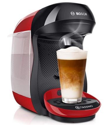 Bosch - Hogar TAS1003 TASSIMO Happy Cafetera de cápsulas, 1400 W, color rojo y negro