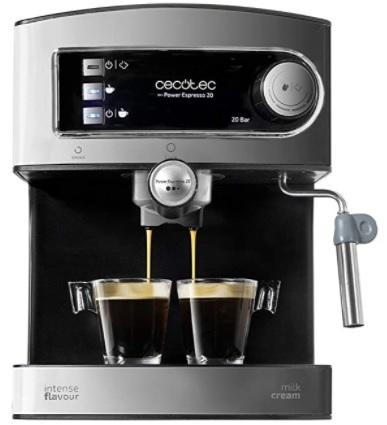 Cecotec - Cafetera Express Manual Power Espresso 20. 850W, Presión 20 Bares, Depósito de 1,5L, Brazo Doble Salida, Vaporizador