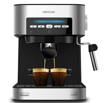 Power Espresso Cecotec, 20 Matic Cafetera, Presión 20 Bares, 1,5L, Vaporizador, Superficie Calientatazas, Mandos Digitales, 850W, Negro, Plata