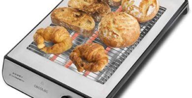 Cecotec - Tostador Plano Horizontal Turbo Easy Toast Inox. 3 Resistencias de Cuarzo, 6 Niveles de Potencia, Bandeja Recogemigas, Hueco Recogecables