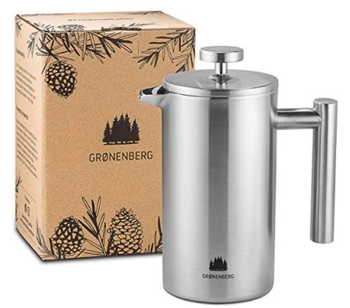 Groenenberg - Cafetera Francesa 0,35 litro, Cafetera émbolo de Acero Inoxidable INOX, French Press de Doble Pared aislada, Prensa Francesa con filtros