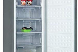 Infiniton -Congelador vertical CV-128, 140L, Cíclico, 5 cajones XL, A++, 1,25m de alto, Inox