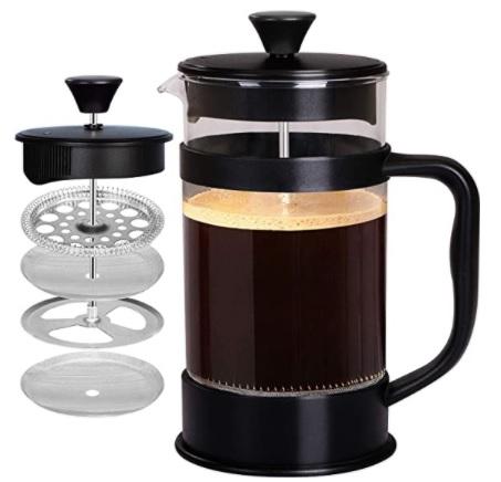 KICHLY - 8 tazas 1 litro,Cafetera Francesa espresso y tetera con triple filtro émbolo de acero inoxidable