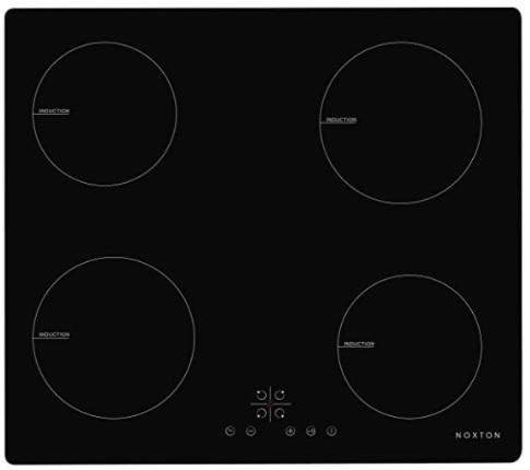 NOXTON - Placas de Inducción 4 fuegos Vidrio negro Cocina eléctrica integrada de Domino con control táctil del sensor, 60cm