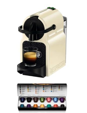 Nespresso - De'Longhi Inissia - Cafetera monodosis de cápsulas Nespresso, 19 bares, apagado automático, color crema, Incluye pack de bienvenida con 14 cápsulas