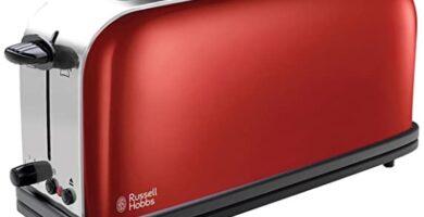 Russell Hobbs - Colours Plus - Tostadora, Ranura Larga y Ancha, para 2 Rebanadas, Acero Inoxidable, Rojo