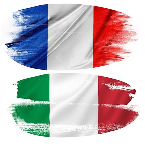 bandera de Italia y Francia